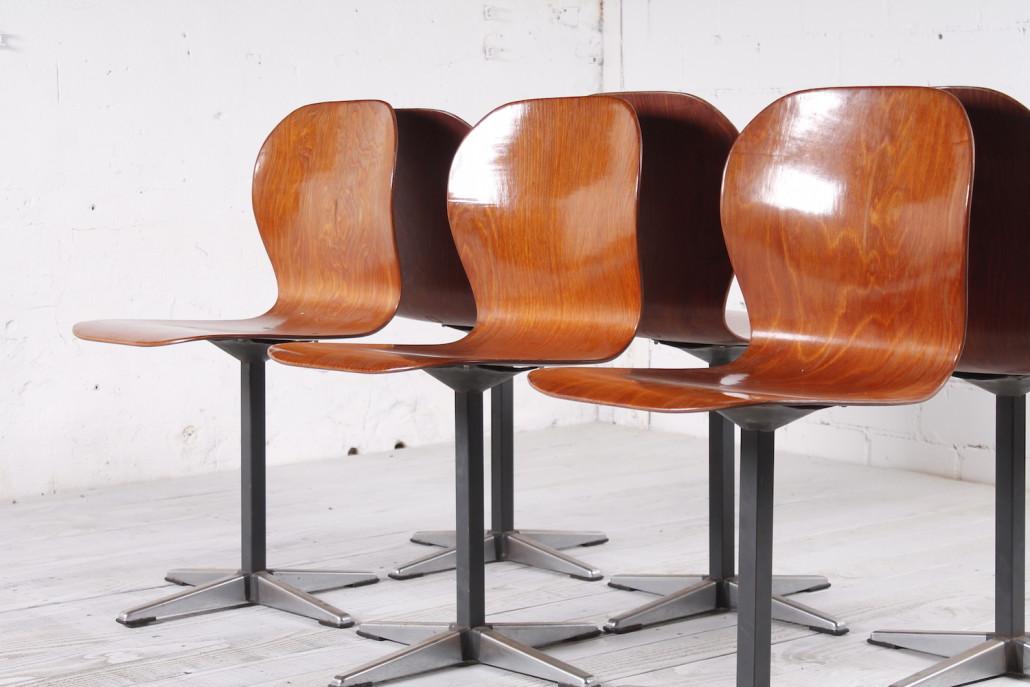 6er set industrie st hlen pagholz metall 1960er hans. Black Bedroom Furniture Sets. Home Design Ideas