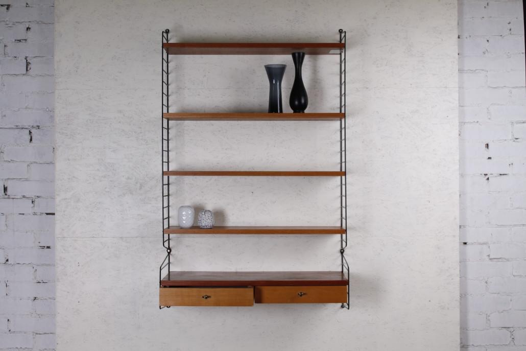 original schwedisches nisse strinning string regal teak metall 1950er hans hans. Black Bedroom Furniture Sets. Home Design Ideas