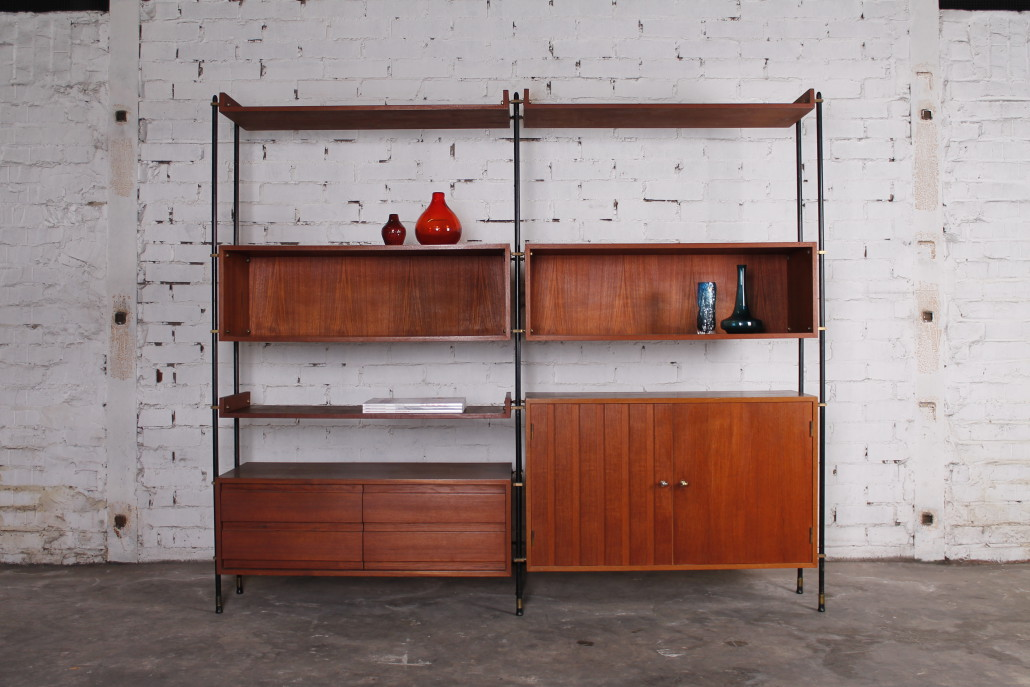 italian modern freistehendes regalsystem teak metall 1960er hans hans. Black Bedroom Furniture Sets. Home Design Ideas