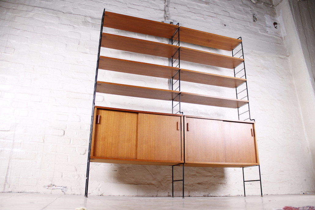 mid century regalsystem aus skandinavien teak metall 1950er hans hans. Black Bedroom Furniture Sets. Home Design Ideas