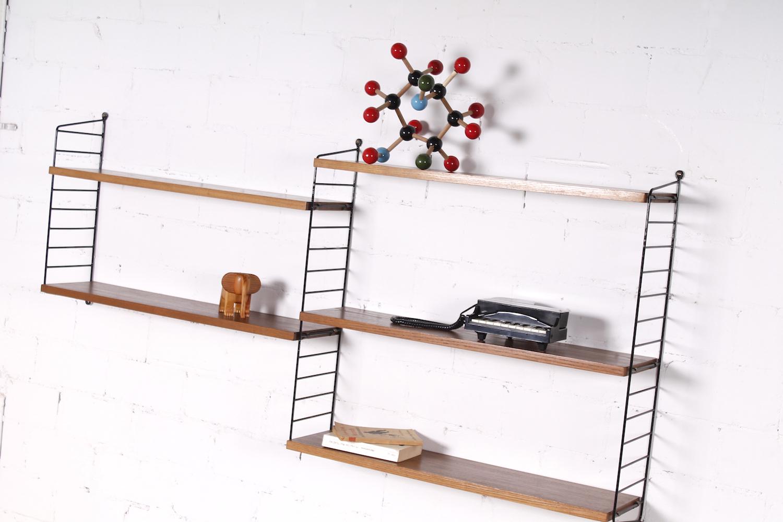 original vintage nisse strinning string regal nussbaum metall 1950er hans hans. Black Bedroom Furniture Sets. Home Design Ideas