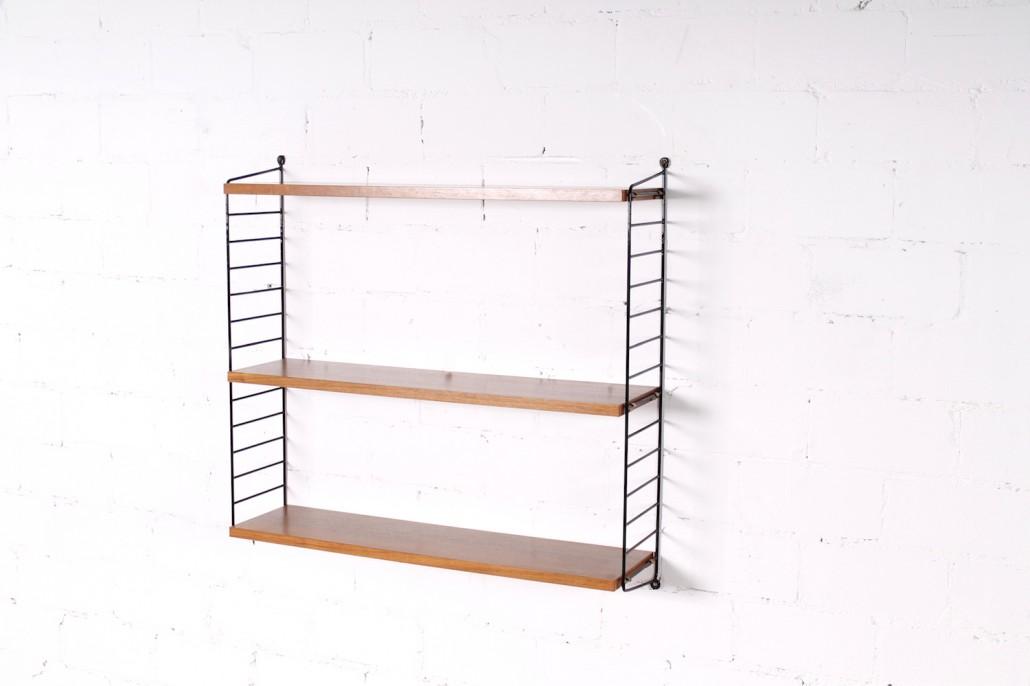 original vintage nisse strinning string regal nussbaum metall 1960er hans hans. Black Bedroom Furniture Sets. Home Design Ideas