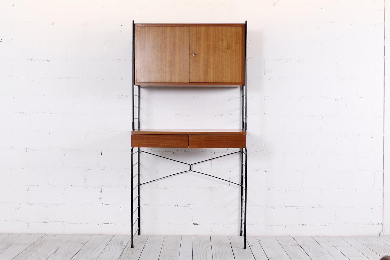 Kleiner String Regal Schreibtisch von WHB, Nussbaum/Metall - 1960er ...