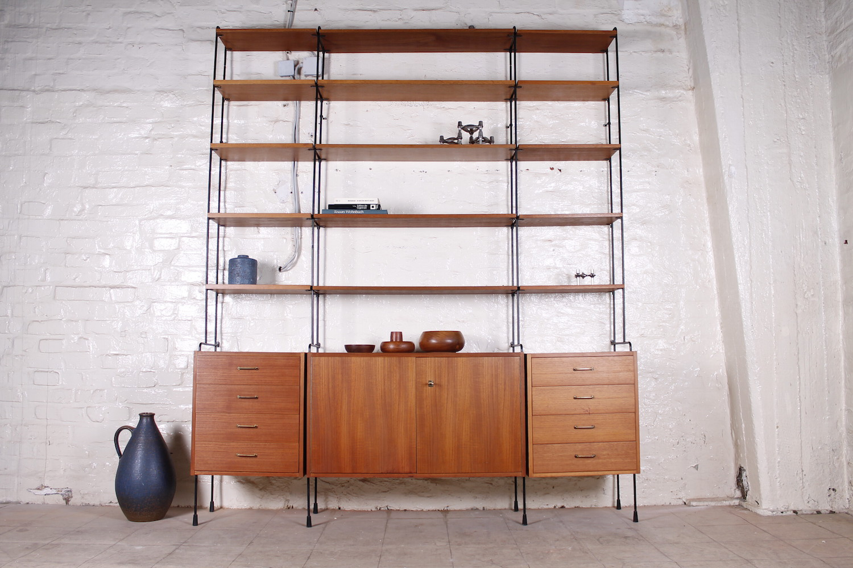 xl omnia string regalsystem teak metall 1960er hans. Black Bedroom Furniture Sets. Home Design Ideas