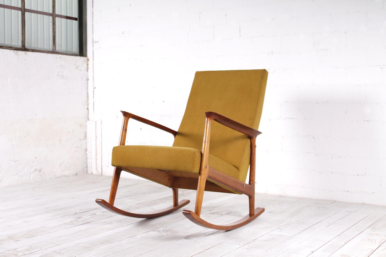 Vintage schaukelstuhl restauriert buche textil 1950er for Retro schaukelstuhl