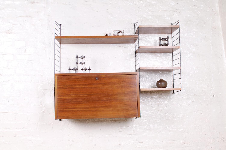 original schwedisches nisse strinning systemregal nussbaum metall 1950er hans hans. Black Bedroom Furniture Sets. Home Design Ideas