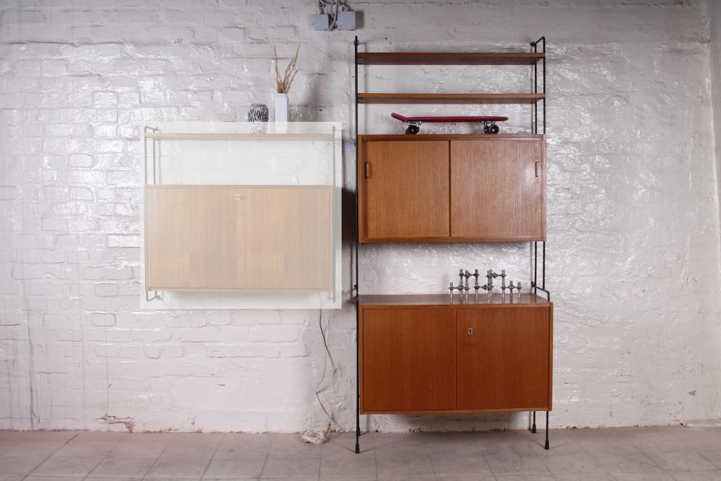 deutsches omnia regelsystem teak metall 1960er hans. Black Bedroom Furniture Sets. Home Design Ideas