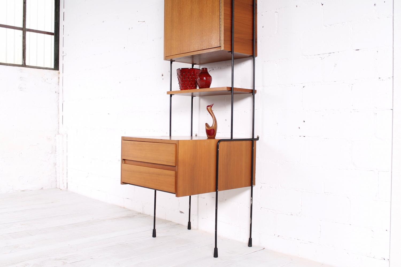 Vintage Omnia Regalsystem Von Hilker Nussbaum Metall 1960er Hans Hans
