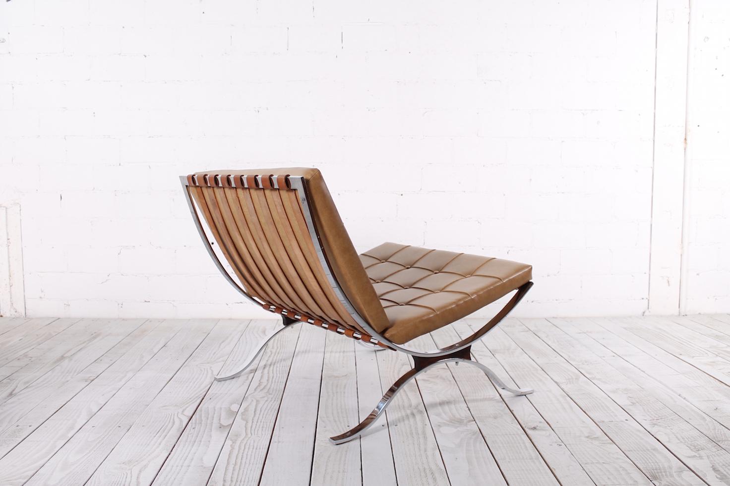 Vintage Flachstahl Sessel Im Stil Des Barcelona Chair